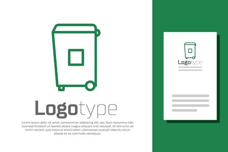 Green line Trash can icon isolated on white background. Garbage bin sign. Recycle basket icon. Office trash icon.  イラスト・ベクター素材