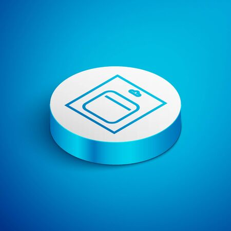Isometric line Battery in pack icon isolated on blue background. Lightning bolt symbol. White circle button. Vector Illustration