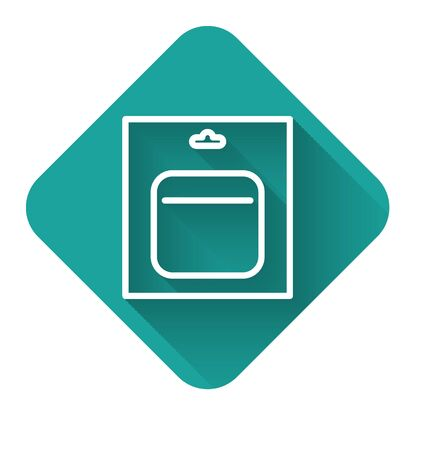 White line Battery in pack icon isolated with long shadow. Lightning bolt symbol. Green square button. Vector Illustration