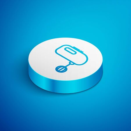 Isometric line Electric mixer icon isolated on blue background. Kitchen blender. White circle button. Vector Illustration