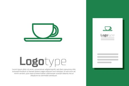 Green line Coffee cup icon isolated on white background. Tea cup. Hot drink coffee.  イラスト・ベクター素材