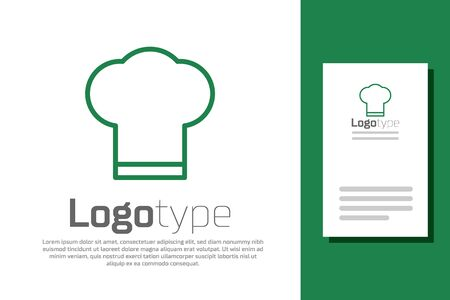 Green line Chef hat icon isolated on white background. Cooking symbol. Cooks hat.