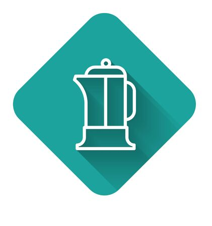 White line French press icon isolated with long shadow. Green square button. Vector Illustration