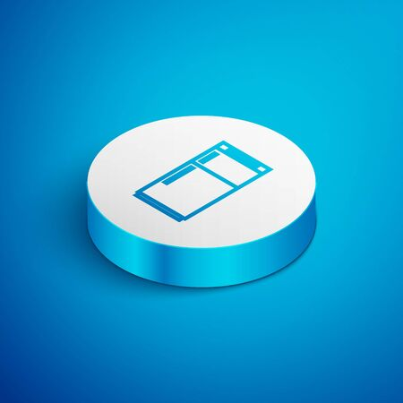 Isometric line Refrigerator icon isolated on blue background. Fridge freezer refrigerator. Household tech and appliances. White circle button. Vector Illustration
