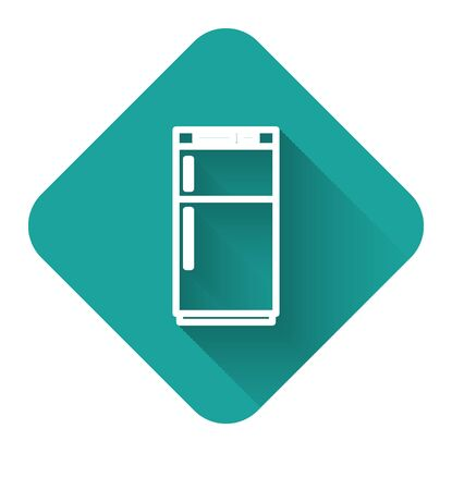 White line Refrigerator icon isolated with long shadow. Fridge freezer refrigerator. Household tech and appliances. Green square button. Vector Illustration