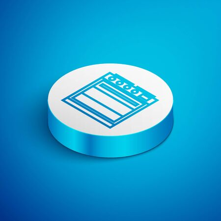 Isometric line Oven icon isolated on blue background. Stove gas oven sign. White circle button. Vector Illustration  イラスト・ベクター素材