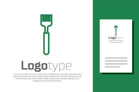 Green line Fork icon isolated on white background. Cutlery symbol.
