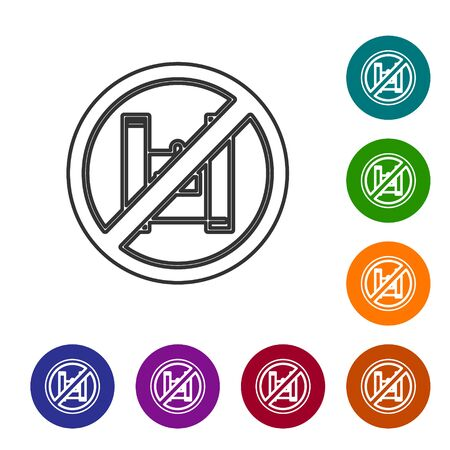 Grey line Say no to plastic bags poster icon isolated on white background. Disposable cellophane and polythene package prohibition sign. Set icons in color circle buttons. Vector Illustration