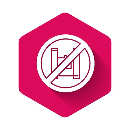 White Say no to plastic bags poster icon isolated with long shadow. Disposable cellophane and polythene package prohibition sign. Pink hexagon button. Vector Illustration