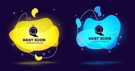 Black Human hands holding Earth globe icon isolated on blue background. Save earth concept. Set abstract banner with liquid shapes. Vector Illustration