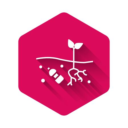 White The problem of pollution of the planet icon isolated with long shadow. The garbage, plastic, bags on the planet. Pink hexagon button. Vector Illustration