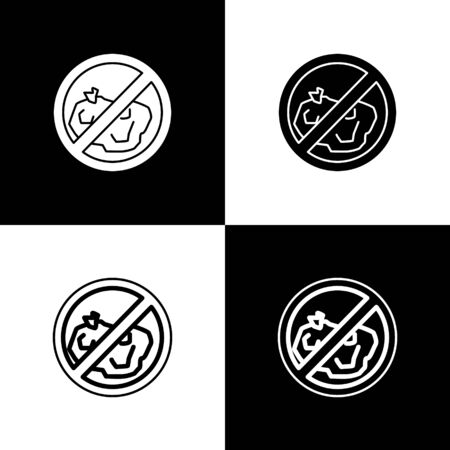 Set No trash icon isolated on black and white background. Vector Illustration