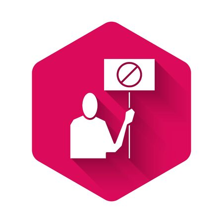 White Nature saving protest icon isolated with long shadow. Earth planet protection, environmental issues demonstration. Pink hexagon button. Vector Illustration