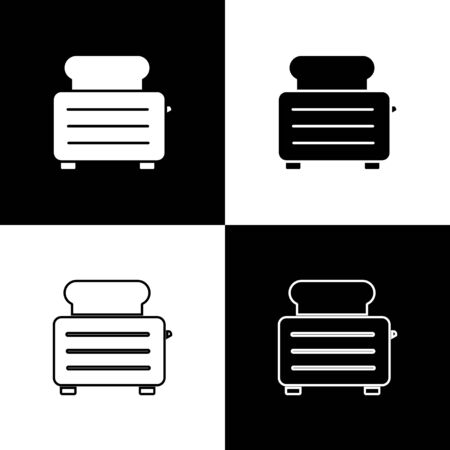 Set Toaster with toasts icon isolated on black and white background. Vector Illustration