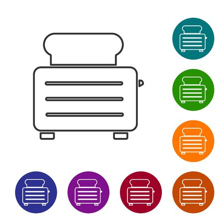 Grey line Toaster with toasts icon isolated on white background. Set icons in color circle buttons. Vector Illustration