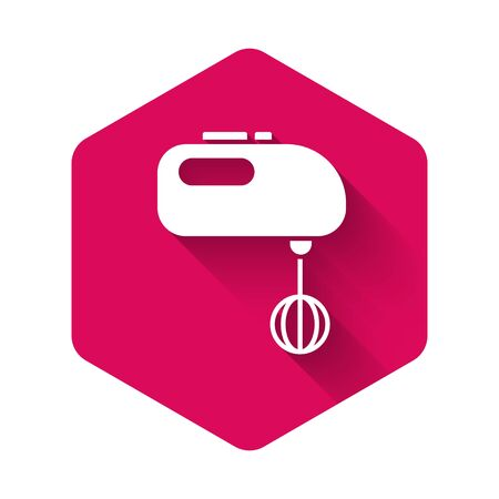 White Electric mixer icon isolated with long shadow. Kitchen blender. Pink hexagon button. Vector Illustration