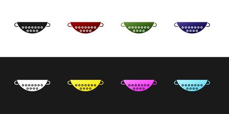 Set Kitchen colander icon isolated on black and white background. Cooking utensil. Cutlery sign. Vector Illustration