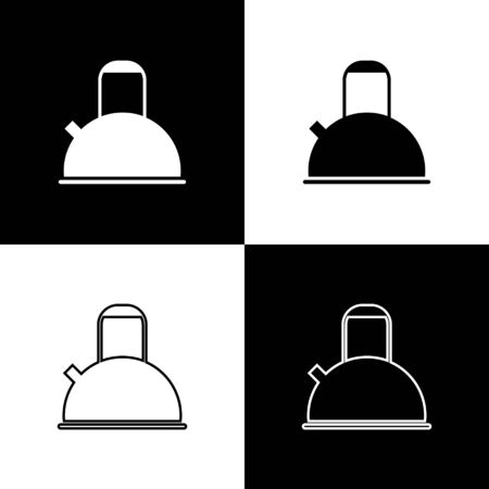 Set Kettle with handle icon isolated on black and white background. Teapot icon. Vector Illustration  イラスト・ベクター素材