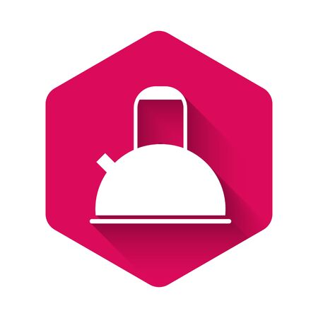 White Kettle with handle icon isolated with long shadow. Teapot icon. Pink hexagon button. Vector Illustration