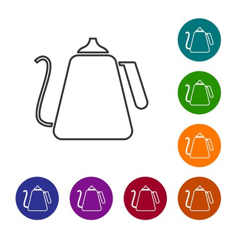 Grey line Kettle with handle icon isolated on white background. Teapot icon. Set icons in color circle buttons. Vector Illustration