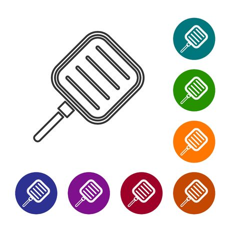 Grey line Frying pan icon isolated on white background. Fry or roast food symbol. Set icons in color circle buttons. Vector Illustration  イラスト・ベクター素材