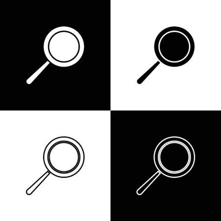 Set Frying pan icon isolated on black and white background. Fry or roast food symbol. Vector Illustration