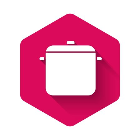White Cooking pot icon isolated with long shadow. Boil or stew food symbol. Pink hexagon button. Vector Illustration