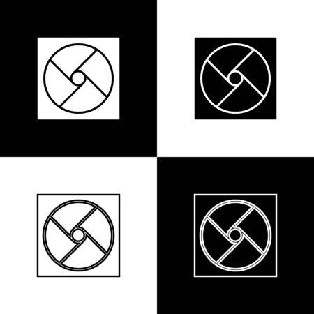 Set Ventilation icon isolated on black and white background. Vector Illustration