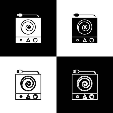 Set Electric stove icon isolated on black and white background. Cooktop sign. Hob with four circle burners. Vector Illustration