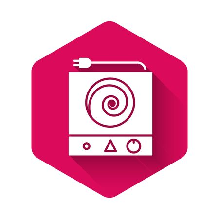 White Electric stove icon isolated with long shadow. Cooktop sign. Hob with four circle burners. Pink hexagon button. Vector Illustration