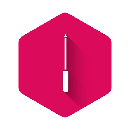 White Knife sharpener icon isolated with long shadow. Pink hexagon button. Vector Illustration