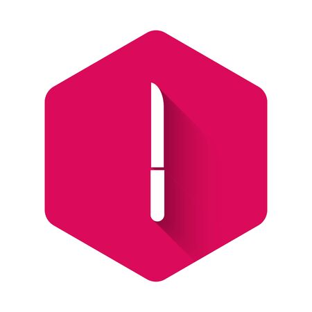 White Knife icon isolated with long shadow. Cutlery symbol. Pink hexagon button. Vector Illustration