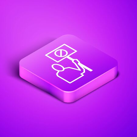 Isometric line Nature saving protest icon isolated on purple background. Earth planet protection, environmental issues demonstration. Purple square button. Vector Illustration