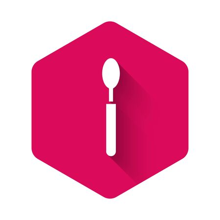 White Spoon icon isolated with long shadow. Cooking utensil. Cutlery sign. Pink hexagon button. Vector Illustration