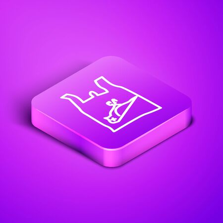 Isometric line Dead bird, plastic icon isolated on purple background. Element of pollution problems sign. Purple square button. Vector Illustration Ilustracja
