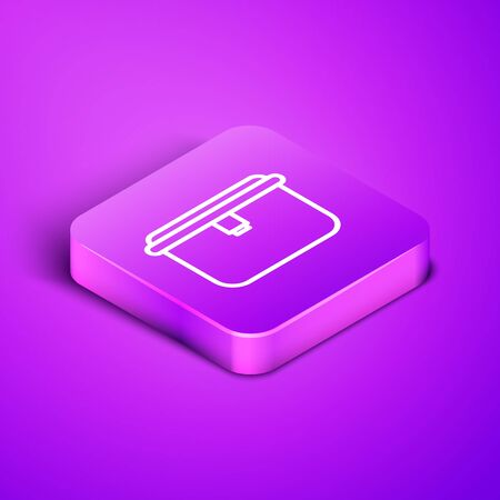 Isometric line Lunch box icon isolated on purple background. Purple square button. Vector Illustration