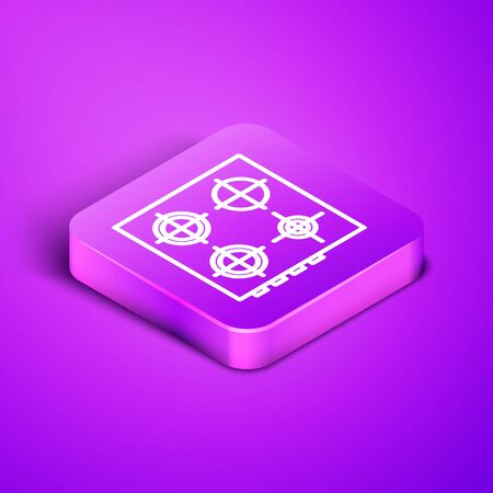 Isometric line Gas stove icon isolated on purple background. Cooktop sign. Hob with four circle burners. Purple square button. Vector Illustration