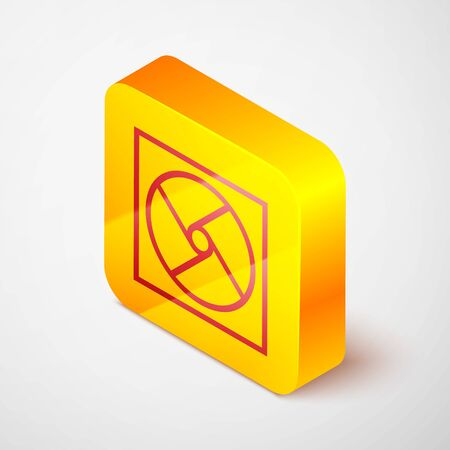 Isometric line Ventilation icon isolated on grey background. Yellow square button. Vector Illustration