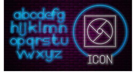 Glowing neon line Ventilation icon isolated on brick wall background. Neon light alphabet. Vector Illustration Stock Illustratie
