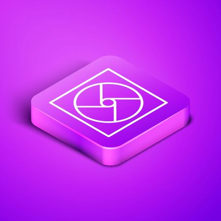 Isometric line Ventilation icon isolated on purple background. Purple square button. Vector Illustration
