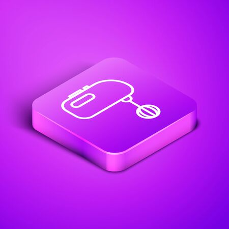 Isometric line Electric mixer icon isolated on purple background. Kitchen blender. Purple square button. Vector Illustration Иллюстрация