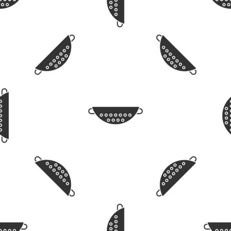 Grey Kitchen colander icon isolated seamless pattern on white background. Cooking utensil. Cutlery sign. Vector Illustration