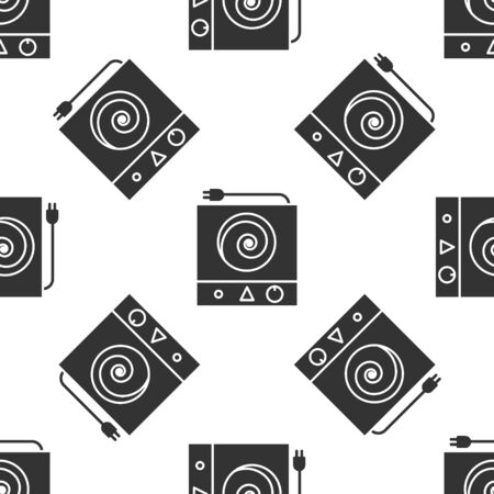 Grey Electric stove icon isolated seamless pattern on white background. Cooktop sign. Hob with four circle burners. Vector Illustration