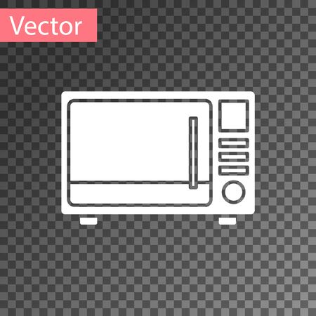 White Microwave oven icon isolated on transparent background. Home appliances icon. Vector Illustration
