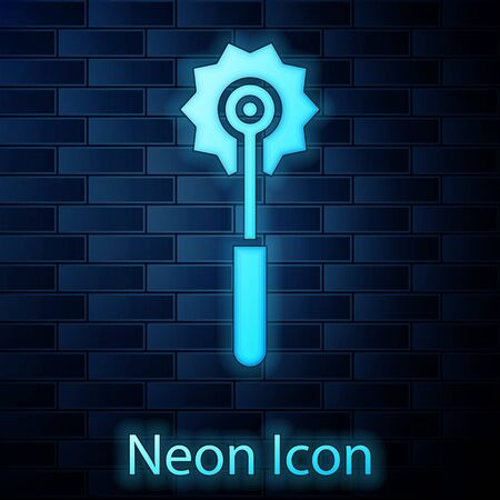 Glowing neon Pizza knife icon isolated on brick wall background. Pizza cutter sign. Steel kitchenware equipment. Vector Illustration