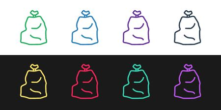 Set line Garbage bag icon isolated on black and white background. Vector Illustration