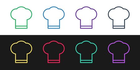 Set line Chef hat icon isolated on black and white background. Cooking symbol. Cooks hat. Vector Illustration Ilustracja
