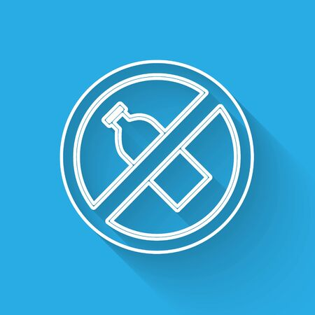 White line No plastic bottle icon isolated with long shadow. Vector Illustration