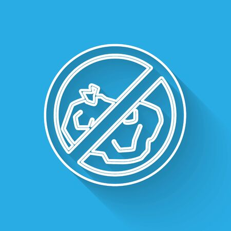 White line No trash icon isolated with long shadow. Vector Illustration