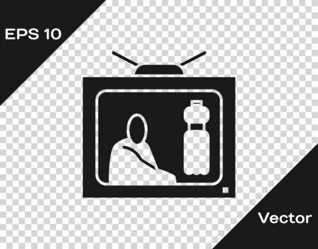Grey Stop plastic pollution icon isolated on transparent background. Ecological poster. Vector Illustration Ilustração